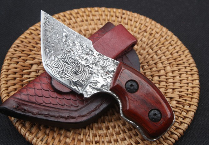 Rosewood Handle Damascus steel Knife Tactical Tools with Hand-made Sheath Survival Knives Dropshipping 2617