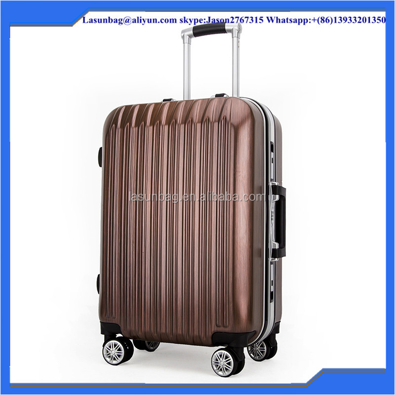 "24"" brown wave moulding durable travel luggage/suitcase/trolley bag set"