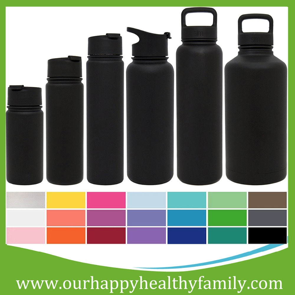 Summit Water Bottle + Extra Lid - Vacuum Insulated Stainless Steel Powder Coated - 6 Sizes, 22 Colors