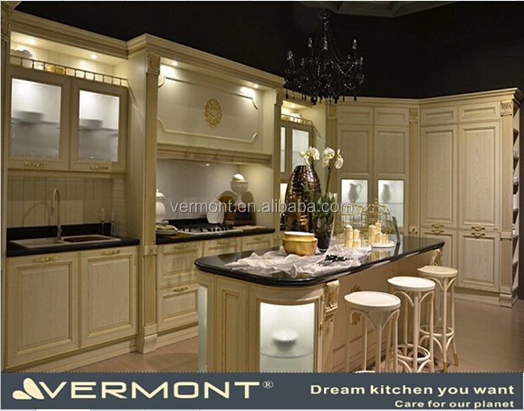 Classical White Style Solid Wood Cabinets Kitchen