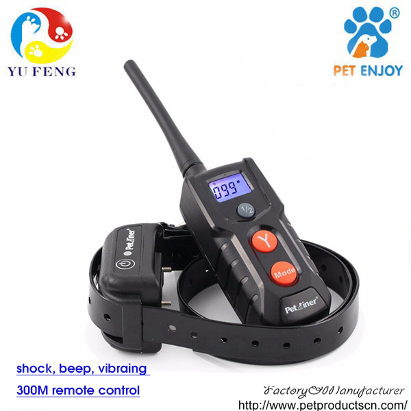 300m Petrainer dog training collar with remote Rechargeable Dog Electronic Shock Training Collar Blue LCD display PET916