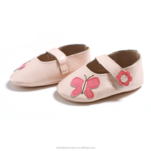 Soft Sole Baby Shoes Handmade Infant Gift Butterfly Pink Comfortable Leather Shoes