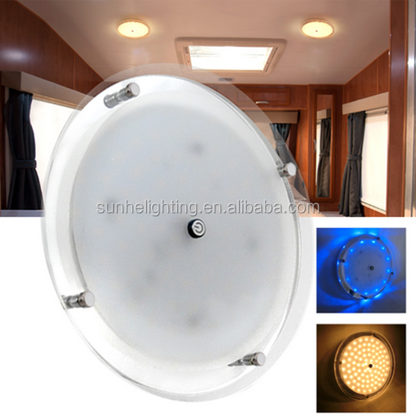 RV LED 12v Fixture Ceiling Camper Trailer Marine Dome Light With Touch Dimmer