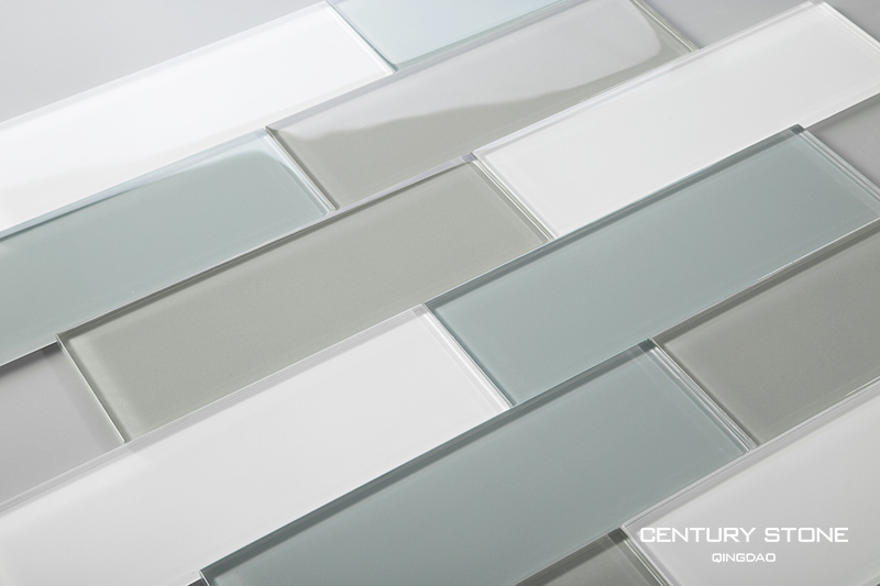 3 X 8 Inch Blue Gray And White Crystal Glass Tile For