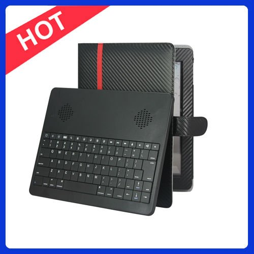 Wireless Keyboard with Stereo Speaker with Leather Case for Ipad2