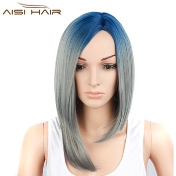 Aisi Hair Synthetic Blue To Grey Ombre Bob Wig Heat Resistant Short Straight Bob Wigs For Black Women