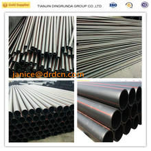 factory prices pe100 hdpe pipe with red line black water plastic pipes