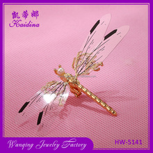 Newest selling attractive style pretty gold dragonfly shaped wedding hair pins
