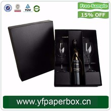 YF Hot Sale High Quality Custom Logo Black Cardboard Wine Carrier Box