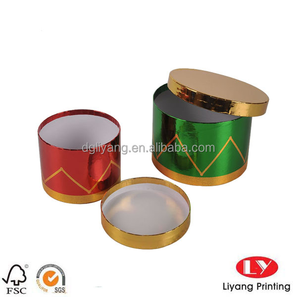 Custom Order Gold and Green Card (special paper) Round and Tube Shape Cardboard Box for Gift Packaging