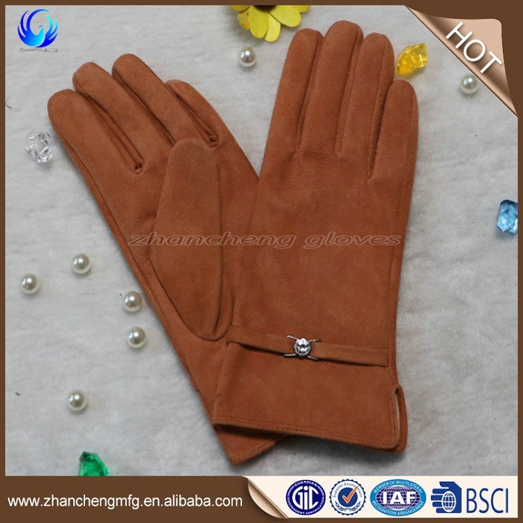 Factory made ladies winter orange pig suede leather gloves with high quality