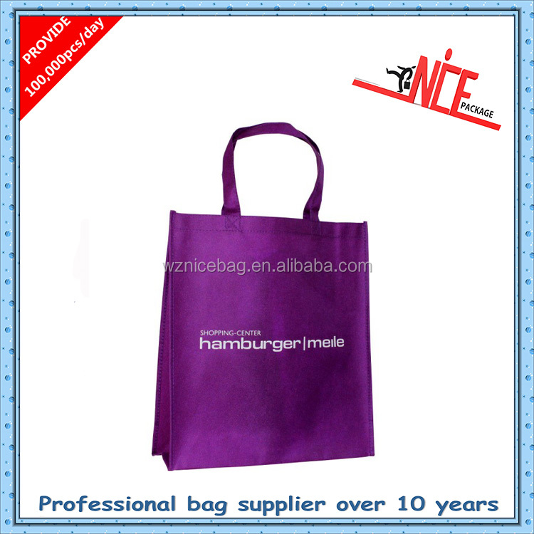 Trendy promotional solid color nonwoven shopping bags made of nonwoven