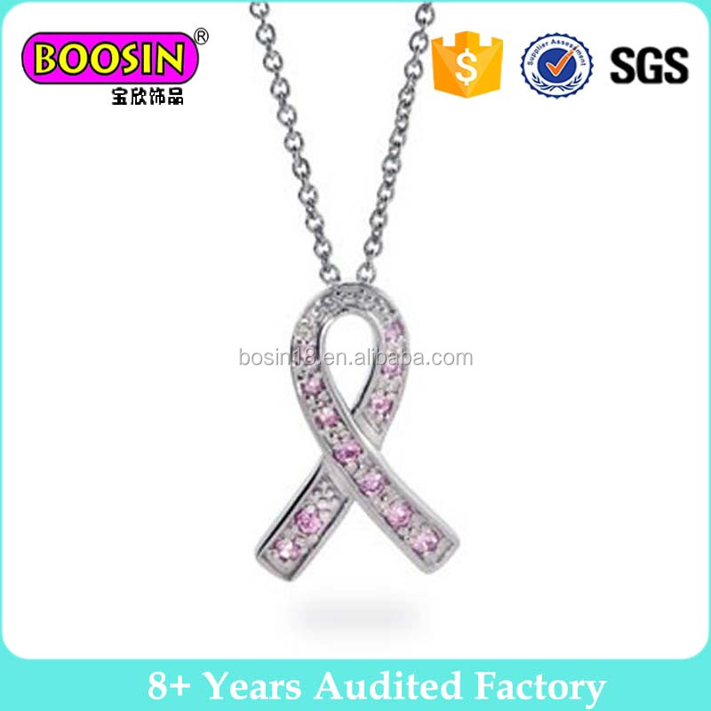 Bling Jewelry Silver CZ Breast Cancer Awareness Pink Ribbon Pendant Necklace With Chain