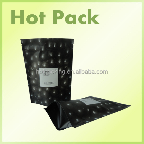 black resalable food bags / laminated pouch for dried fruit packaging