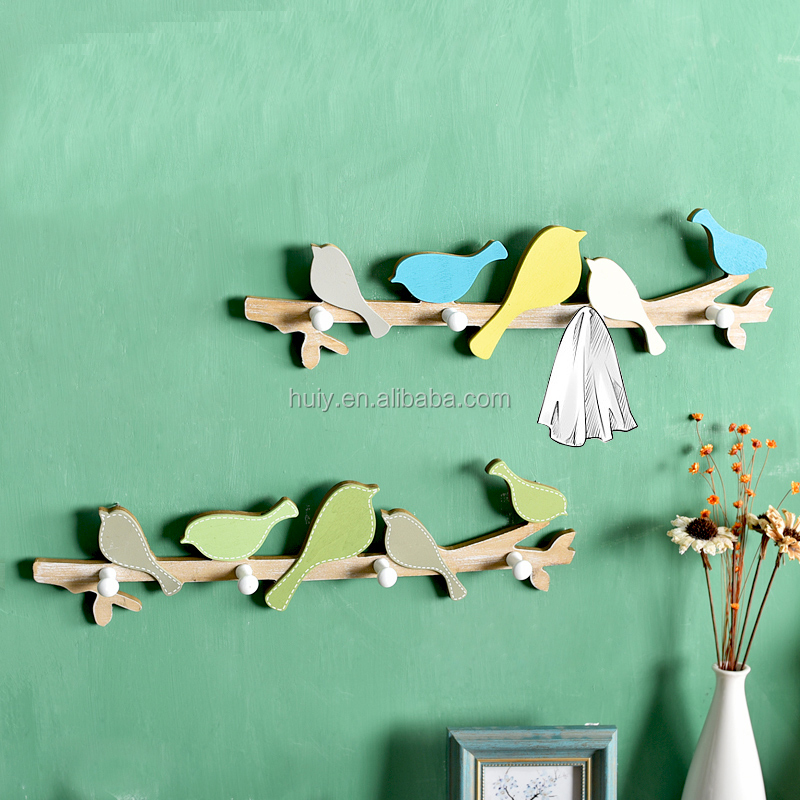 wooden rustic decorative bird coat hanger with hooks for cloth and bag