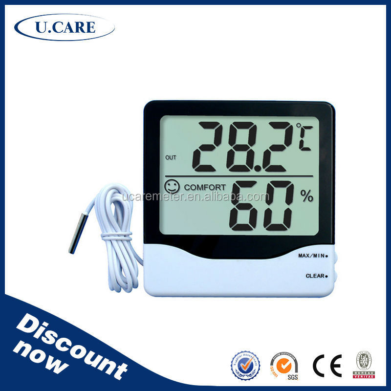 CE approva good quality indoor outdoor plastic small hygrometer, round digital hygrometer, thermometer hygrometer digital probe
