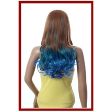 pretty girls harajuku wigs brown with blue wigs heat resistant hair
