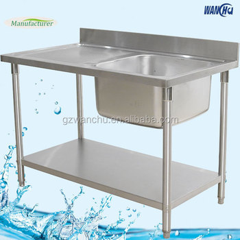 Dubai Kitchen Stainless Steel Sink Table/Single Bowl Kitchen Sink With  Table For Industrial Projects