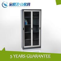 Hot sales bookcase with glass doors / sliding glass door steel office filing cabinet / metal lockable cabinet with glass door