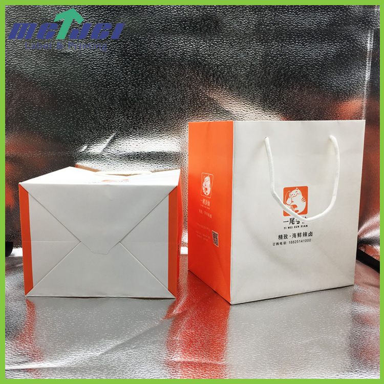 Low cost square bottom promotional shopping paper bag