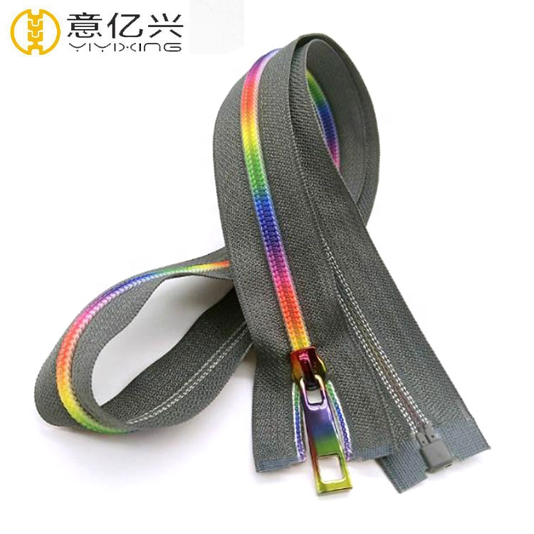 Cheap Brand Colored #5 Rainbow Teeth Continuous Nylon Separating Zippers