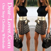 Women's Bodycon Sleeveless 2015 Dress Print Bottom Party Wear Frocks