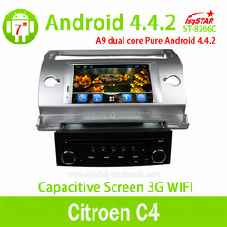 Pure android 4.4 Citroen C4 car dvd player with mirror link