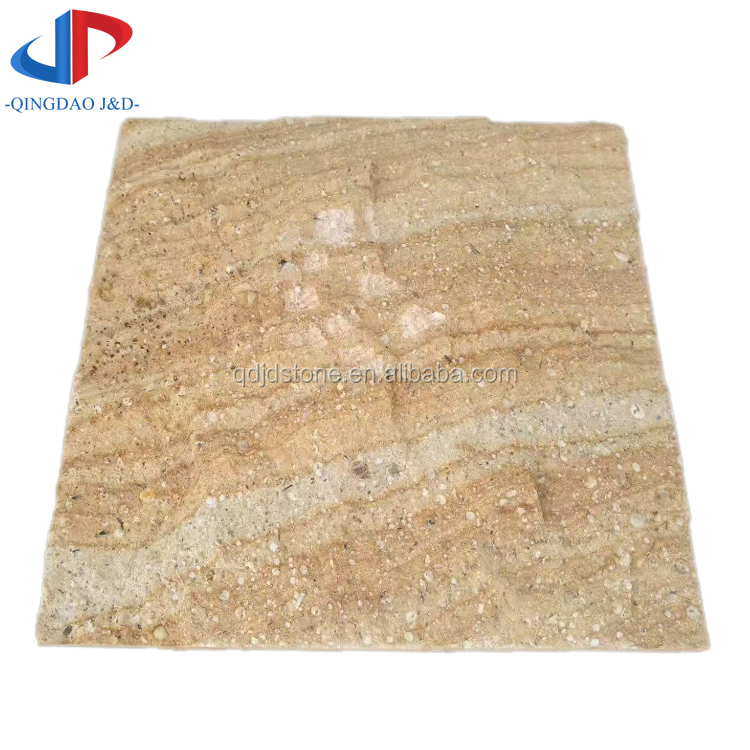Wooden yellow sandstone paving tiles