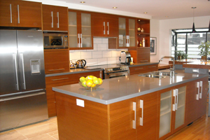 KITCHEN CABINETS BROWN WITH STEEL