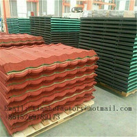 stone covering metal roofing tile