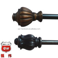 "1-1/8"" Drapery hardware decorative drapery rod set steel curtain rod 36-72"" ORB/Brown"