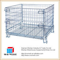 Mesh box wire cage metal bin storage container with metal storage cages
