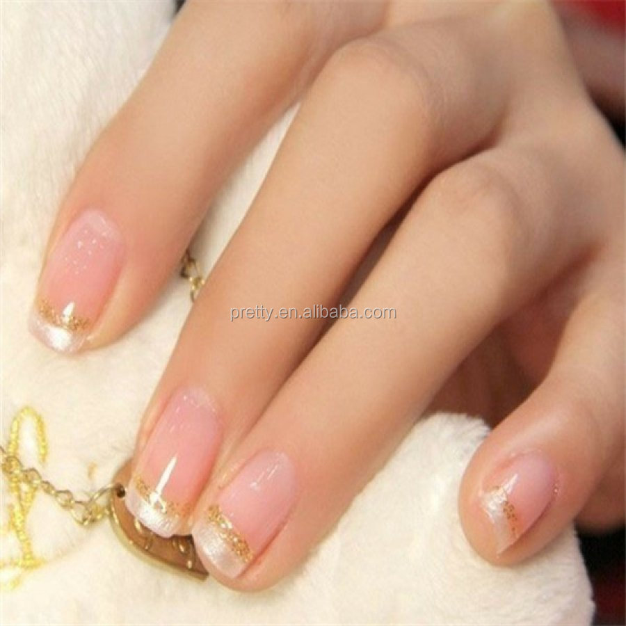Hot Sale French Manicure Nail Tips 24PCS Full Cover Artificial Nails EU and US compliant