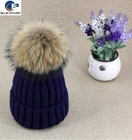 Hot Selling Wholesale Women Hats Knitting 100% Wool Fold up Beanie Winter Hat with Big Size Real Raccoon Fur Balls On Top