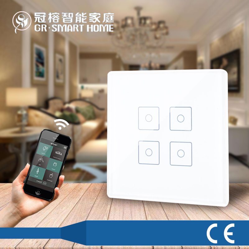 Wiressless 4 button intelligent Remote control switch panel Z-WAVE technology Touch switch