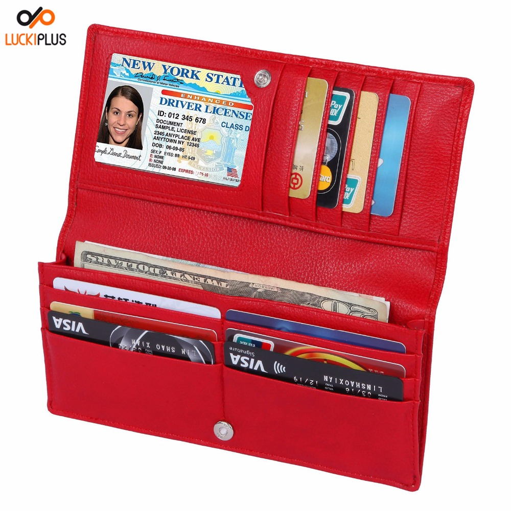 Luckiplus RFID Blocking Ultra Slim Wallet for Women Red Color Card Wallet