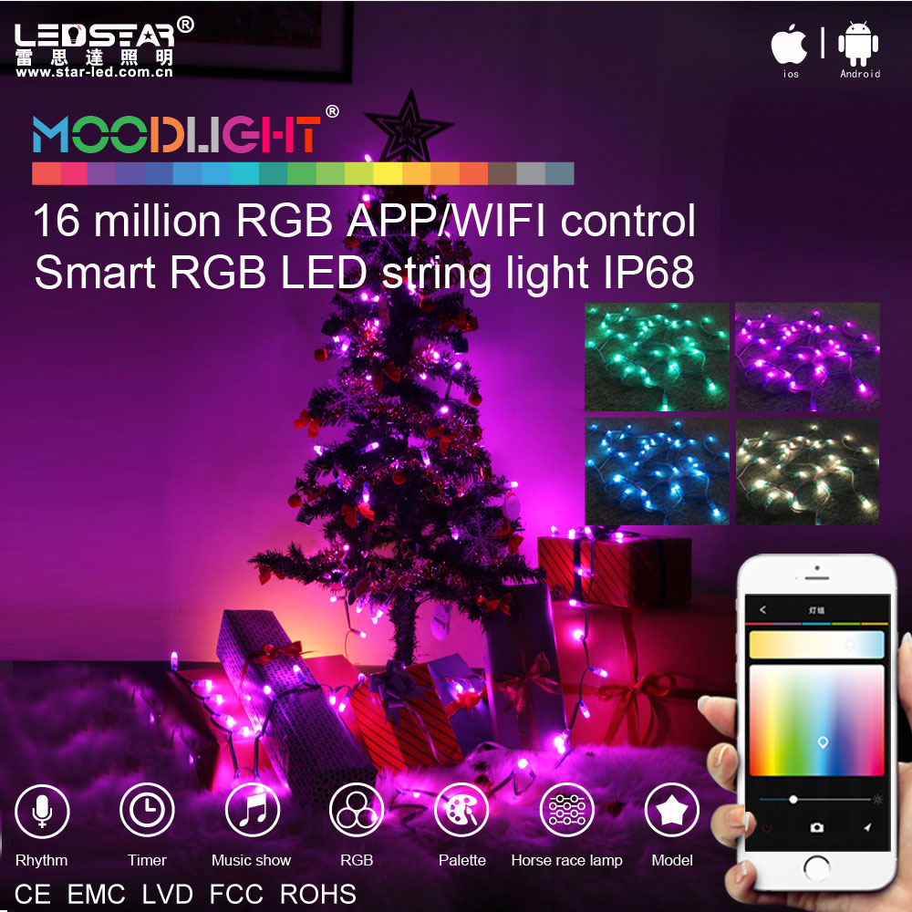 Smart programmable LED christmas lights RGB color changing LED christmas lights waterproof