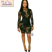 Sexy Lace Dress 2015 New Arrival Black Long Sleeve Women Club Slim Bodycon Dresses Transparent Evening Party