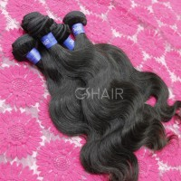 Non chemical processed natural color 1B body wave virgin indian weaved hair