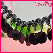 wholesale fashion black trim and black round sequin clothes accessory WTP-1288
