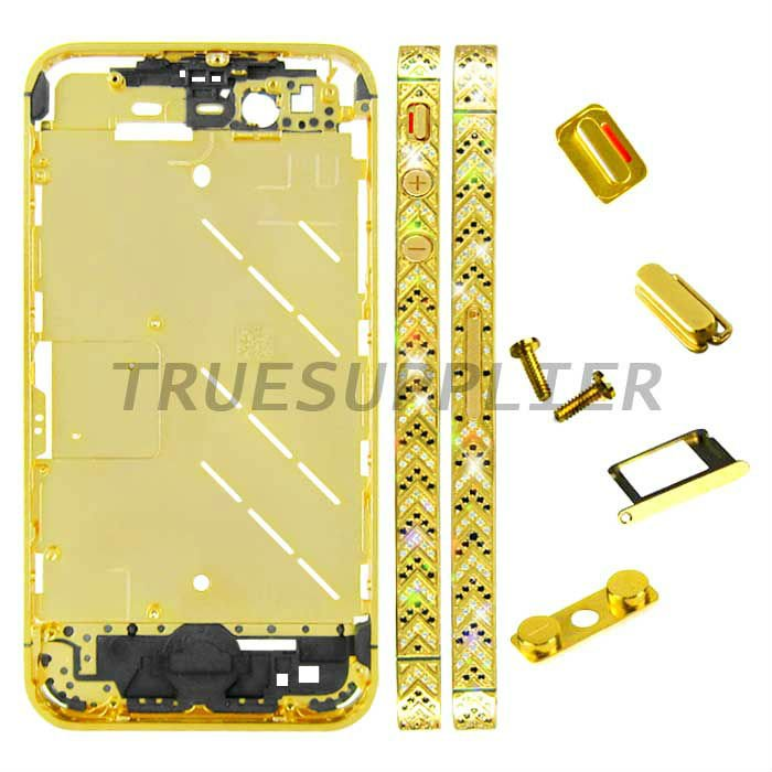 New luxury design Mix Diamond Housing Middle Plate for iPhone 4S Arrow Design