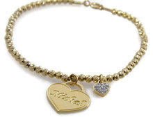 Latest Design 316L Stainless Steel 14k Gold Plated Crystal Heart Charm Beaded Name Bracelet