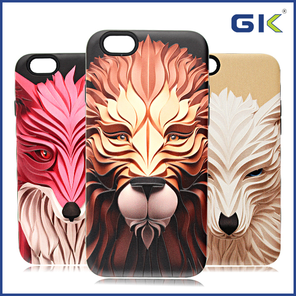 [GGIT] 3D Animal Portraits Design 2 in 1 Mobile Phone Case For IPhone 6 Cover