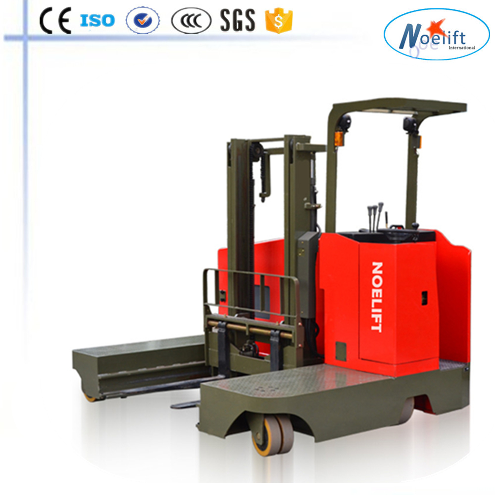 mini electric forklift lifter electric side loading reach stacker, long pipe stacker, wood turbing stacker