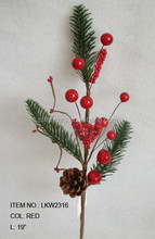 "Wholesales cheap high quality artificial pine cone and diy foam red berry pick 19"" branches pick decoration in christmas"