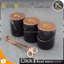 Natural Christmas Black Marble Candle Holders with Rose Gold Lid