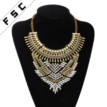 Hot Sale Cheap Indian Gold Necklace Designs Multi-layer Bead Handmade Flower Necklace for Women