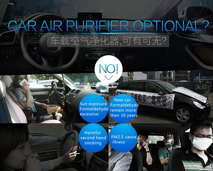 Black and White Small Car Air Purifier Remove Bad Smells Negative Ions Refreshing Air Ionizer TRUMPXP-86-01