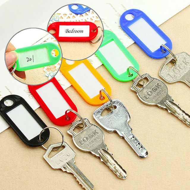 New 10PCS Colorful Key ID Labels Name Tags Split Ring Car Door Keyring Keychain