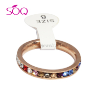 QR-0086 New fashion lady stainless steel color diamonds ring fine quality IP Gold ring diamond jewellery
